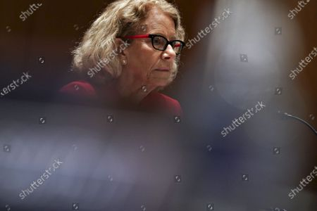 """Diana Bianchi, director of the Eunice Kennedy Shriver National Institute of Child Health and Human Development, listens during a Senate Appropriations Subcommittee hearing in Washington, D.C., U.S.,. The hearing is titled """"National Institutes of Health's FY22 Budget and the State of Medical Research."""""""
