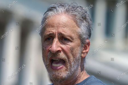 Entertainer and activist Jon Stewart lends his support to House Veterans Affairs Committee Chair Mark Takano, D-Calif., as lawmakers work on legislation to expand benefits and improve care for veterans suffering from toxic exposure to burn pits and other hazards, at the Capitol in Washington