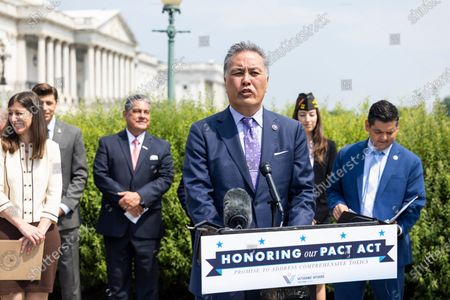 Veterans Affairs Committee Chairman Mark Takano (C) unveils legislation addressing toxic exposure among veterans outside the US Capitol in Washington, DC, USA, 26 May 2021.