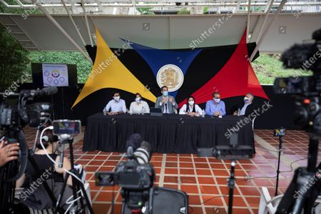Venezuelan opposition leader Juan Guaido speaks during a press conference in Caracas, Venezuela, 26 May 2021. Venezuelan opposition leader Juan Guaido said that 'it is a lie' that 1.3 million doses of vaccines against COVID-19 have recently arrived in the country, as President Nicolas Maduro assured on 23 May, when he pointed out that a new vaccination phase would begin on 24 May of which, to date, the Government has not reported.
