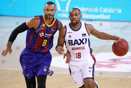 Jonathan Tabu and Adam Hanga during the match between FC Barcelona and Baxi Manresa, corresponding to the semifinal of the Catalan Basketball League, played at the Palau Blaugrana, on 04th September 2020, in Barcelona, Spain.