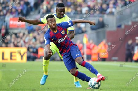 Oghenekaro Etebo and Ansu Fati during the match between FC Barcelona and Getafe CF, corresponding to the week 24 of the Liga Santander, played at the Camp Nou Stadium, on 15th february 2020, in Barcelona, Spain.