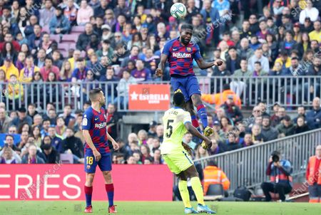 Oghenekaro Etebo and Samuel Umtiti during the match between FC Barcelona and Getafe CF, corresponding to the week 24 of the Liga Santander, played at the Camp Nou Stadium, on 15th february 2020, in Barcelona, Spain.