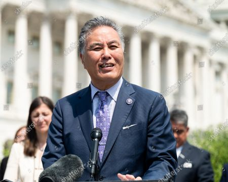 Stock Picture of U.S. Representative Mark Takano (D-CA) speaking at a press conference to unveil legislation to help veterans exposed to toxic burn pits.