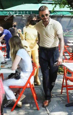 Victoria Beckham and David Beckham leaving Bar Pitti