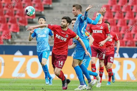 (210527) - COLOGNE, May 27, 2021 (Xinhua) - Jonas Hector (front, L) of Koeln lives with Hauke Finn Wahl of Kiel during the German Bundesliga relegation first-leg football match between FC Koeln and Holstein Kiel in Cologne, Germany, May 26, 2021.