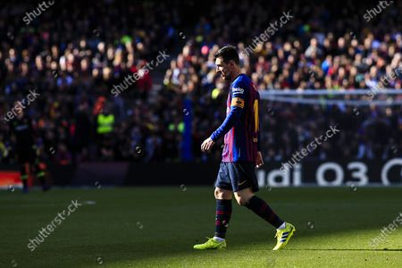 """Stock Picture of 10 Leo Messi of FC Barcelona during the """"Derby"""" of La Liga match between FC Barcelona and RCD Espanyol in Camp Nou Stadium in Barcelona 30 of March of 2019, Spain."""