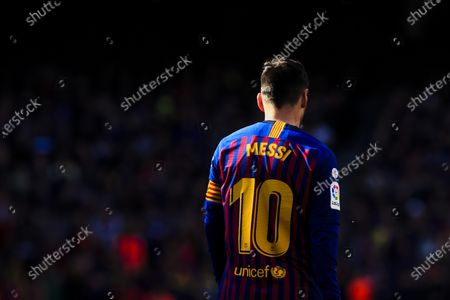 """10 Leo Messi of FC Barcelona during the """"Derby"""" of La Liga match between FC Barcelona and RCD Espanyol in Camp Nou Stadium in Barcelona 30 of March of 2019, Spain."""