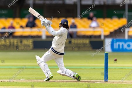 Peter Handscomb drives through the coves for 4 during Day 1 of the LV= Insurance County Championship match between Leicestershire County Cricket Club and Middlesex County Cricket Club at the Uptonsteel County Ground, Leicester