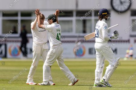 WICKET - Ed Barnes is congratulated on the wicket of Peter Handscomb during Day 1 of the LV= Insurance County Championship match between Leicestershire County Cricket Club and Middlesex County Cricket Club at the Uptonsteel County Ground, Leicester