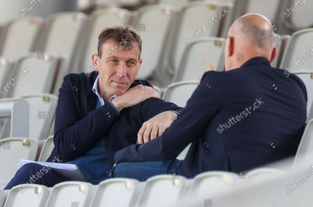 Michael Atherton in the crowd during the LV= Insurance County Championship match between Lancashire County Cricket Club and Yorkshire County Cricket Club at the Emirates, Old Trafford, Manchester
