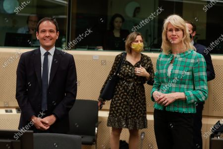 French Secretary of State for the Digital Transition and Electronic Communication Cedric O (L) and Dutch State Secretary Mona Keijzer of Economic Affairs and Climate (R) at the start of an EU Competitiveness Council meeting in Brussels, Belgium, 27 May 2021.