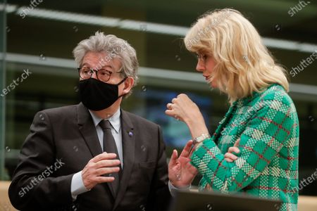 Stock Image of European Commissioner in Charge of Internal Market Thierry Breton and Dutch State Secretary Mona Keijzer of Economic Affairs and Climate at the start of an EU Competitiveness Council meeting in Brussels, Belgium, 27 May 2021.