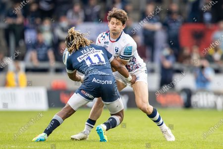 Piers O'Conor of Bristol Bears is tackled by Marland Yarde of Sale Sharks; AJ Bell Stadium, Salford, Lancashire, England; English Premiership Rugby, Sale Sharks versus Bristol Bears.
