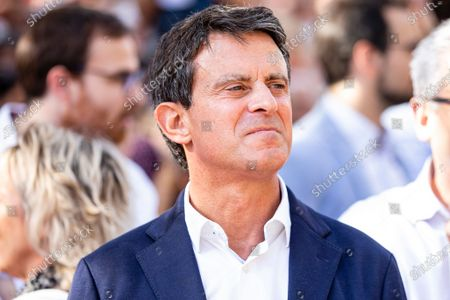 The politician Manuel Valls during the Spanish demonstration protesting against the catalan separatists and claiming for the unity of Spain. On 27 October 2019, in Barcelona, Spain.