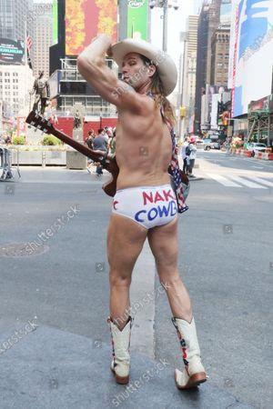 Naked Cowboy, Robert John Burck seen around Times Square