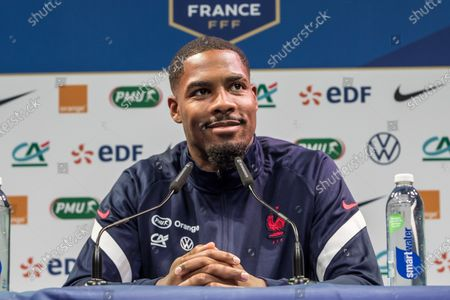 French national soccer team player Mike Maignan attends a press conference in Clairefontaine, south of Paris, France, 27 May 2021. The French team is preparing for the upcoming UEFA EURO 2020 soccer championship.