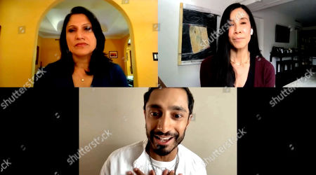 Stock Picture of Roots of Resilience, Seeds of Change 49th Anniversary Gala panel moderator, Lisa Ling, and panelist Riz Ahmed with Aarti Kohli.