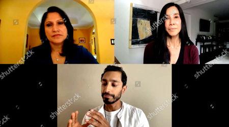 Stock Image of Roots of Resilience, Seeds of Change 49th Anniversary Gala panel moderator, Lisa Ling, and panelist Riz Ahmed with Aarti Kohli.