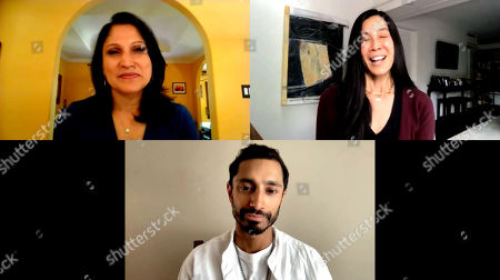 Stock Photo of Roots of Resilience, Seeds of Change 49th Anniversary Gala panel moderator, Lisa Ling, and panelist Riz Ahmed with Aarti Kohli.