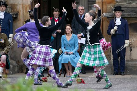 Catherine Duchess of Cambridge watches Highland dancers perform at the Beating of the Retreat at the Palace of Holyroodhouse in Edinburgh