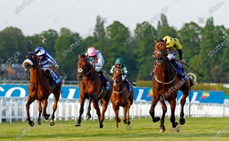 EUCHEN GLEN (right, Paul Mulrennan) beats SANGARIUS (centre) and FOX TAL (left) in The Coral Brigadier Gerard Stakes Sandown
