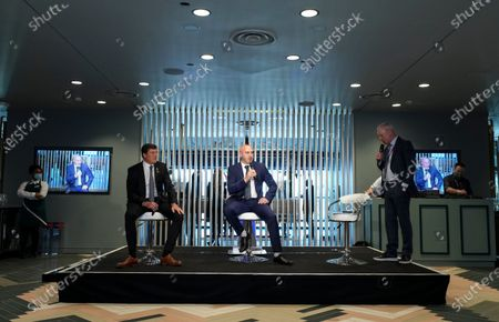 Stock Picture of Commercial and marketing - Jim White hosts a Q & A in The Atrium with Grant Brown and Gary Taylor-Fletcher