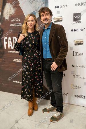 Stock Picture of Actors Javier Veiga and Marta Hazas  at photocall for premiere Fariña in Teatro Cofidis Alcazar