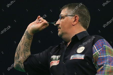 Gary Anderson during the PDC Unibet Premier League darts at Marshall Arena, Milton Keynes