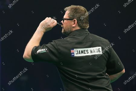 Stock Image of James Wade during the PDC Unibet Premier League darts at Marshall Arena, Milton Keynes