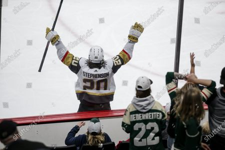 Vegas Golden Knights center Chandler Stephenson celebrated a goal that was negated on a penalty against the Minnesota Wild during Game 6 of an NHL hockey Stanley Cup first-round playoff series, in St. Paul, Minn