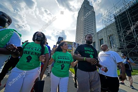 Stock Picture of Mona Hardin, center, mother of Ronald Greene, participates in a march from the state Capitol to the Governor's mansion in Baton Rouge, La., protesting the death of Greene, who died in the custody of Louisiana State Police in 2019