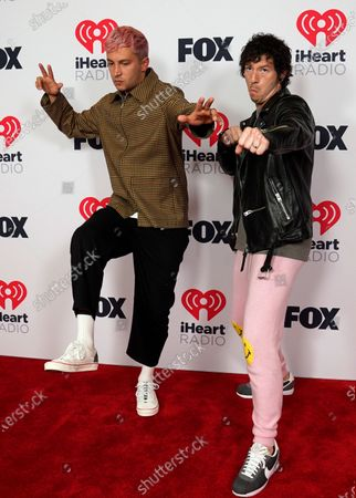 Josh Dun, left, and Tyler Joseph, ofTwenty One Pilots, attend the iHeartRadio Music Awards at the Dolby Theatre, in Los Angeles