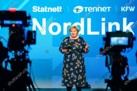 Norwegian Prime Minister Erna Solberg during the official opening of NordLink, the first power connection between Norway and Germany. NordLink is the first direct power connection between  the two countries, the high-voltage DC link enabeling the exchange of 1,400 megawatts, the output of almost one and a half conventional power plants.