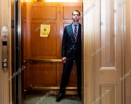 U.S. Senator Tom Cotton (R-AR) in an elevator just after leaving the Senate Chamber at the Capitol.