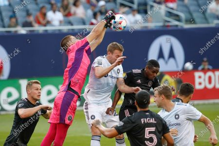 Inter Miami goalkeeper John McCarthy (1) defends against the Chicago Fire during the second half of an MLS soccer match, in Chicago