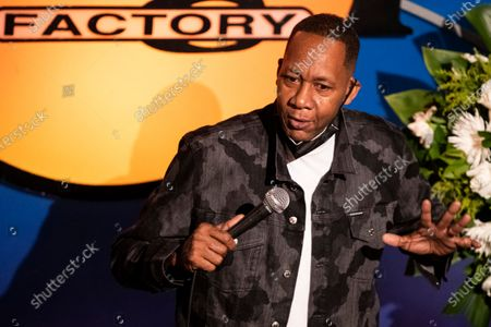 US actor Mark Curry speaks to friends, family and colleagues during the tribute to comedian Paul Mooney at the Laugh Factory in Los Angeles, California, USA, 27 May 2021. Paul Mooney died from a heart attack at his home in Oakland, California on 19 May at the age of 79.