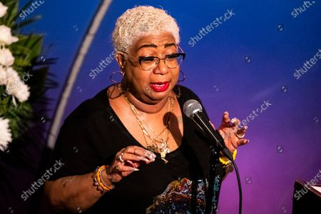 US comedian Luenell speaks to friends, family and colleagues during the tribute to comedian Paul Mooney at the Laugh Factory in Los Angeles, California, USA, 27 May 2021. Paul Mooney died from a heart attack at his home in Oakland, California on 19 May at the age of 79.