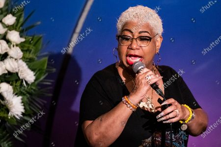 Stock Image of US comedian Luenell speaks to friends, family and colleagues during the tribute to comedian Paul Mooney at the Laugh Factory in Los Angeles, California, USA, 27 May 2021. Paul Mooney died from a heart attack at his home in Oakland, California on 19 May at the age of 79.