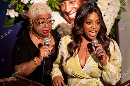 US actress and comedian Sherri Shepherd (R) and US comedian Luenell (L) speak to friends, family and colleagues during the tribute to comedian Paul Mooney at the Laugh Factory in Los Angeles, California, USA, 27 May 2021. Paul Mooney died from a heart attack at his home in Oakland, California on 19 May at the age of 79.
