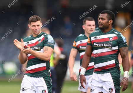 Ben Youngs of Leicester Tigers applauds the fans after the match; Sixways Stadium, Worcester, Worcestershire, England; Premiership Rugby, Worcester Warriors versus Leicester Tigers.