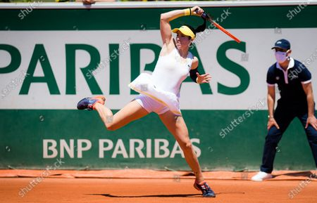 Christina McHale of the United States in action during the first round of the 2021 Roland Garros Grand Slam Tournament