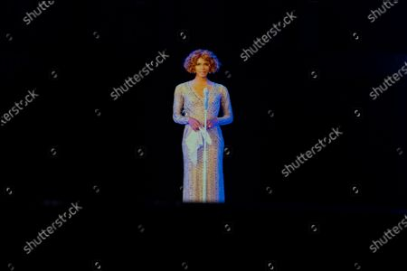 A hologram of Whitney Houston is seen during the dress rehearsal of 'An Evening with Whitney Houston ' in Madrid, Spain, 30 October 2020. The musical will be world premiered 31 October 2020 Spain in Madrid after its presentation in Las Vegas (US) had to be postponed due to the ongoing coronavirus pandemic.