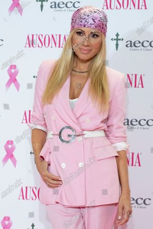 Spanish singer Marta Sanchez presents AECC (Spanish Association Against Cancer) breast cancer campaign at Mirasierra Suites Hotel on October 15, 2020 in Madrid, Spain.