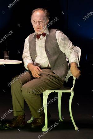 Stock Image of Luis Bermejo performs a fragment of 'Los que hablan' theatre play at Teatro de La Abadia on October 21, 2020 in Madrid, Spain.