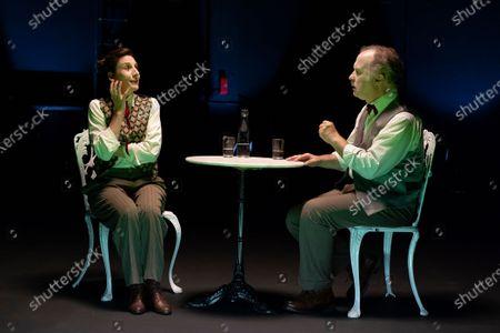 Malena Alterio and Luis Bermejo performs a fragment of 'Los que hablan' theatre play at Teatro de La Abadia on October 21, 2020 in Madrid, Spain.