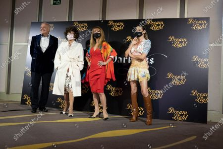Producer Jose Luis Moreno and actresses Joan Collins, Jane Seymour and Denise Richards attend ''Glow & Darkness'' photocall at the Palace Hotel on October 26, 2020 in Madrid, Spain.