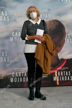 Manuela Carmena attends 'Cartas Mojadas' premiere at Gran Teatro Principe Pio on October 08, 2020 in Madrid, Spain.