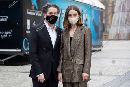 Spanish actress Maria Valverde and Venezuelan orchestra director Gustavo Dudamel during the presentation project 'Symphony' at Madrid Royal Opera House, Spain, 21 December 2020. The project is an immersive experience to take classic music closer to all audiences allowing the spectator is one other musician inside the orchestra.