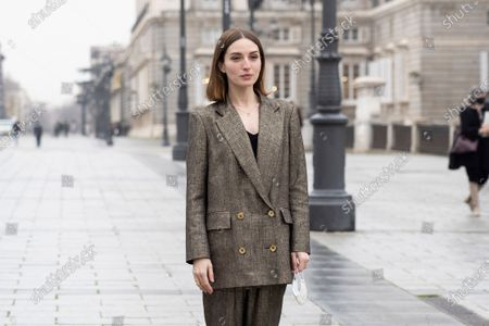 Stock Photo of Spanish actress Maria Valverde during the presentation project 'Symphony' at Madrid Royal Opera House, Spain, 21 December 2020. The project is an immersive experience to take classic music closer to all audiences allowing the spectator is one other musician inside the orchestra.